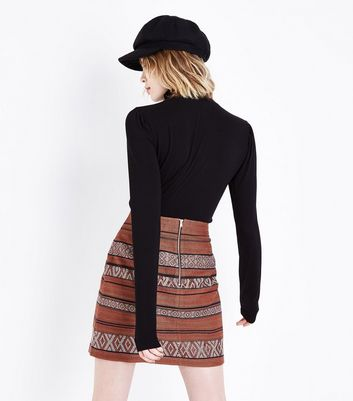 Rust Metallic Jacquard Mini Skirt New Look