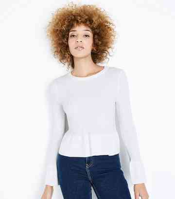 Cream Ribbed Peplum Hem Jumper