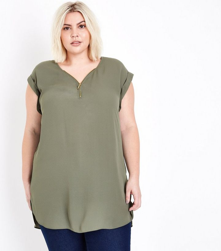 7476087f4dc Curves Khaki Zip Front Longline Tunic Top | New Look