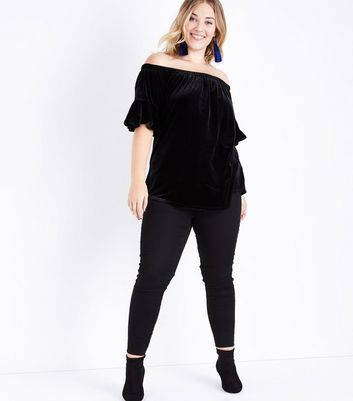 Curves Black Velvet Bell Sleeve Bardot Top New Look