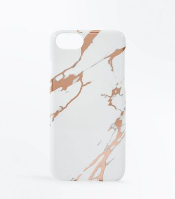 White Marble Effect Metallic iPhone 6/6s/7 Case