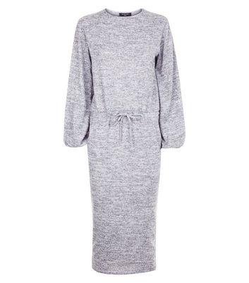 Tall Grey Fine Knit Drawstring Waist Tunic Dress New Look