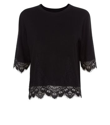 Cameo Rose Black Lace Hem T-Shirt New Look
