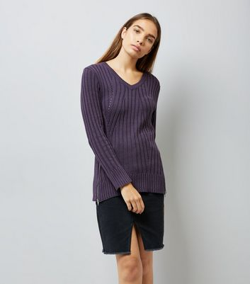 Apricot Purple Zip Hem Ribbed Jumper New Look