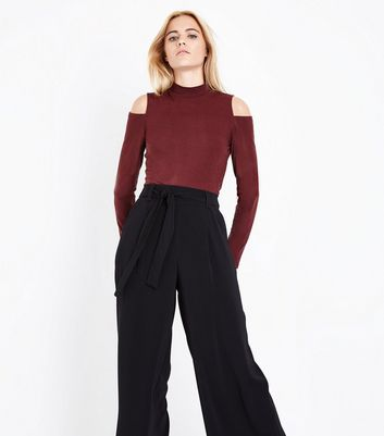 Apricot Burgundy Cold Shoulder Top New Look
