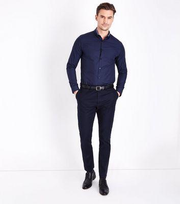 Navy Double Collar Trim Shirt New Look