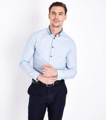 Pale Blue Double Collar Trim Shirt New Look