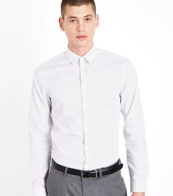 White Pin Dot Print Long Sleeve Shirt