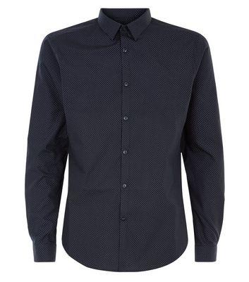 Navy Pin Dot Print Long Sleeve Shirt New Look