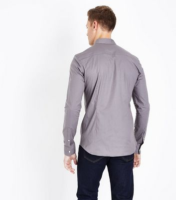 Grey Muscle Fit Stretch Shirt New Look