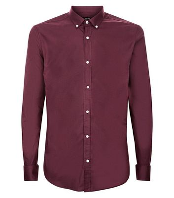 Burgundy Muscle Fit Stretch Shirt New Look