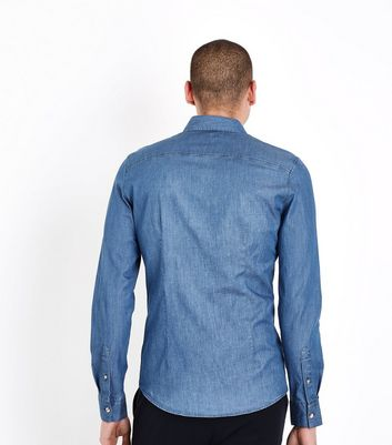 Blue Denim Muscle Fit Stretch Shirt New Look