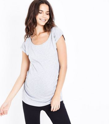 Maternity Pale Grey Ruched Side T-Shirt New Look