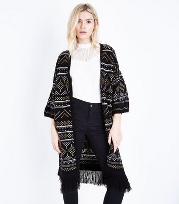 Tall Black Aztec Knit Fringe Hem Cardigan New Look