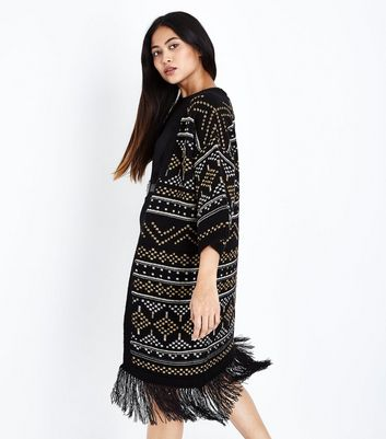 Petite Black Aztec Knit Fringe Hem Cardigan New Look