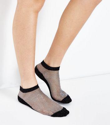 Black Contrast Glitter Ankle Socks New Look