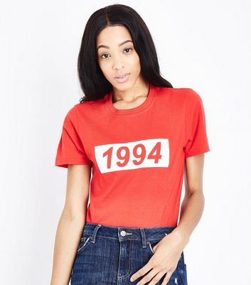 Red 1994 Print T-Shirt New Look