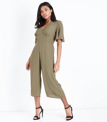 Petite Khaki Angel Sleeve Culotte Jumpsuit New Look