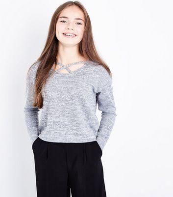 Teens Grey Lattice Neck Fine Knit Top New Look