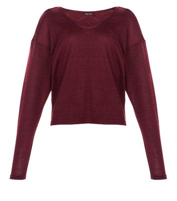 Teens Burgundy Lattice Front Top New Look