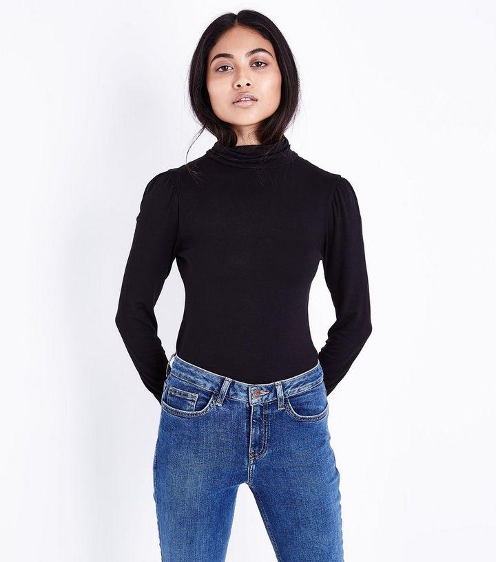 fb84461077660 Petite Black Roll Neck Long Sleeve Top | New Look