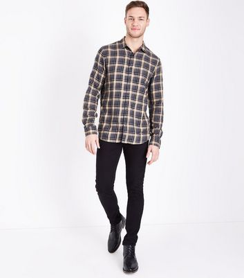 Camel Check Collared Shirt New Look