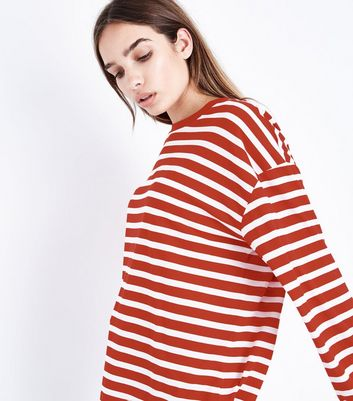 Red Stripe Balloon Sleeve T-Shirt New Look