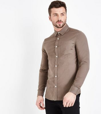 Olive Green Muscle Fit Stretch Oxford Shirt