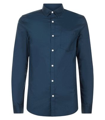 Navy Muscle Fit Stretch Oxford Shirt New Look