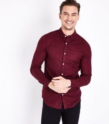 Burgundy Muscle Fit Stretch Oxford Shirt