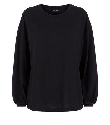 Black Balloon Sleeve T-Shirt New Look