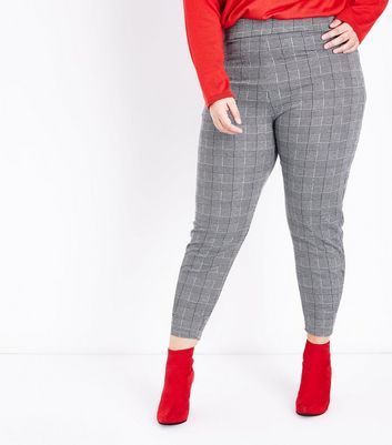 Curves Black Check Leggings New Look