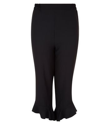 Curves Black Frill Hem Cropped Trousers New Look