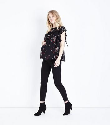 Maternity Black Floral Frill Sleeve Blouse New Look