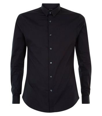 Black Muscle Fit Stretch Shirt New Look