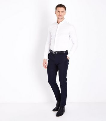 White Muscle Fit Stretch Shirt New Look