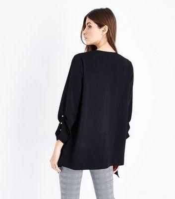 Tall Black Button Sleeve Waterfall Blazer New Look