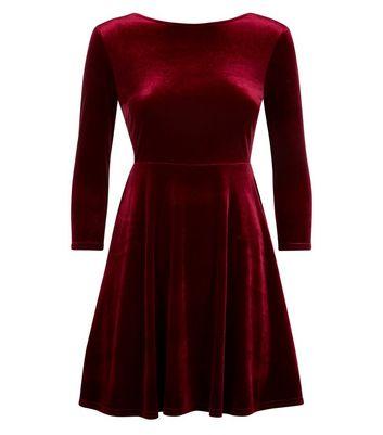 Petite Burgundy Velvet Skater Dress New Look