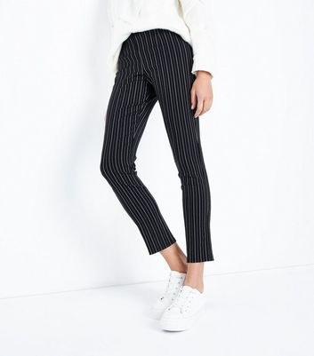 Black Pinstripe Slim Leg Trousers New Look