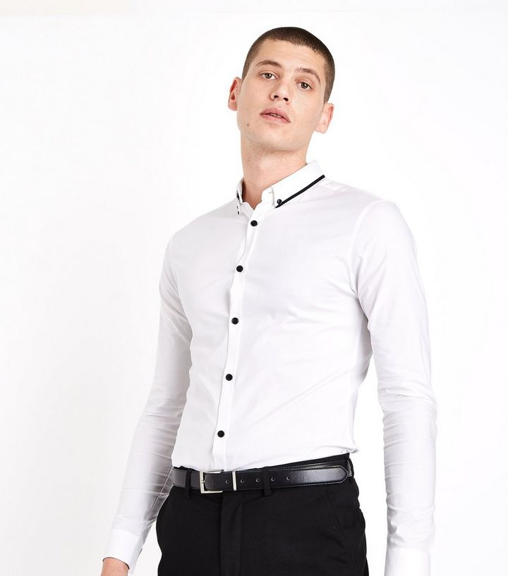 eea822564 White Double Collar Trim Muscle Fit Shirt | New Look