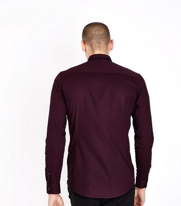 Burgundy Double Collar Trim Muscle Fit Shirt New Look