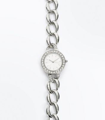 Silver Embellished Dial Chain Strap Watch New Look
