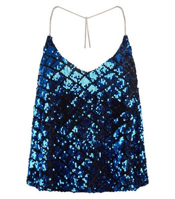 Blue Chain Strap Sequin Top New Look