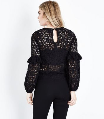 Black Lace Floral Embroidered Frill Sleeve Top New Look
