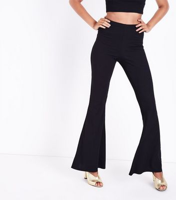 Black Flared Ribbed Jersey Trousers New Look