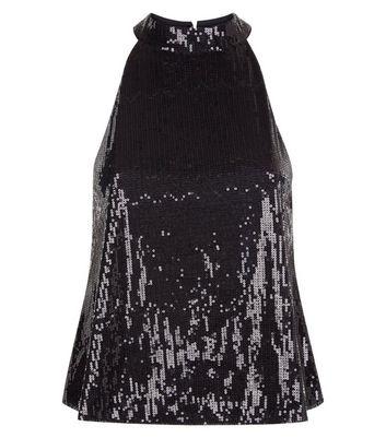 Black Sequin High Neck Vest Top New Look