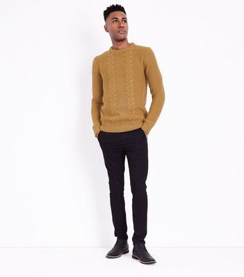 Yellow Cable Knit Crew Neck Sweater New Look
