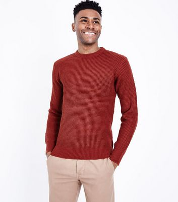 Rust Waffle Knit Crew Neck Jumper New Look
