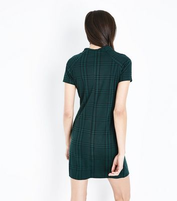 Green Check Tunic Dress New Look