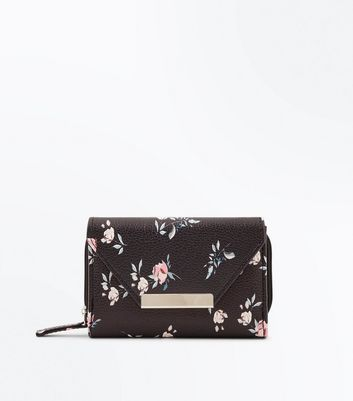 Black Floral Print Small Purse New Look